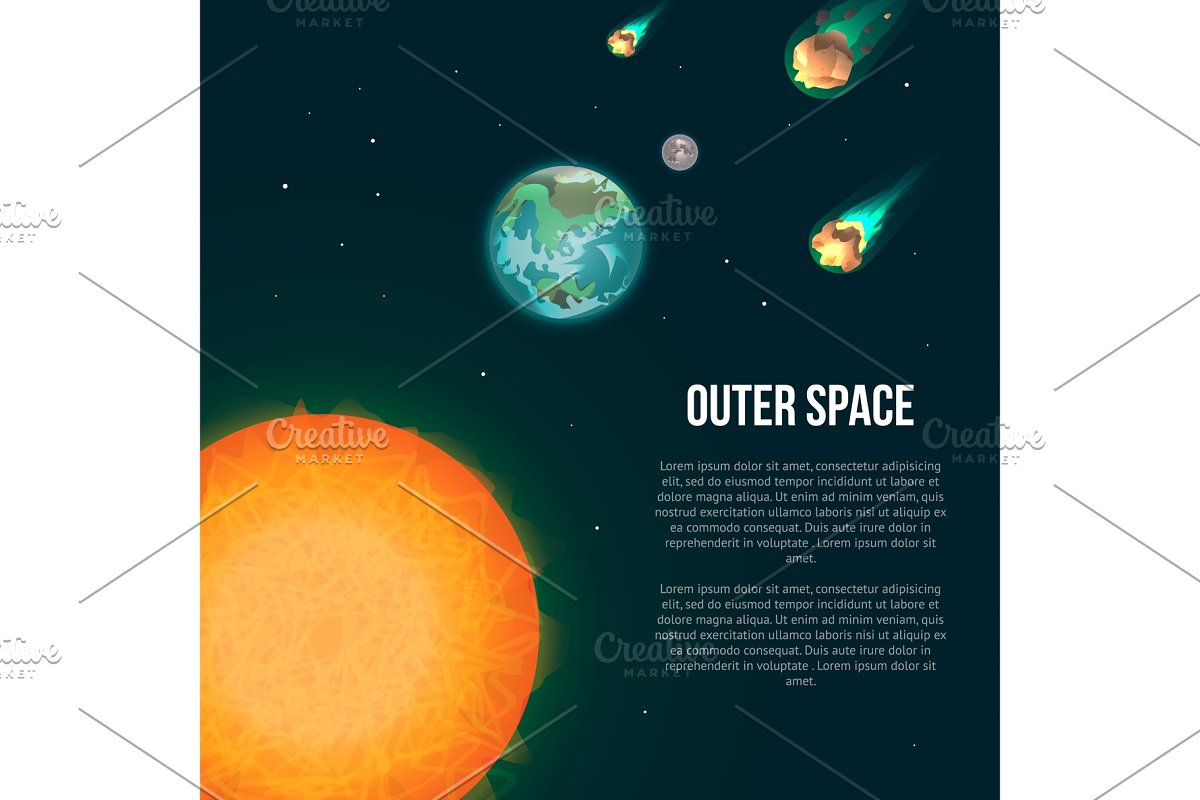 Outer space poster with earth in Illustrations - product preview 8