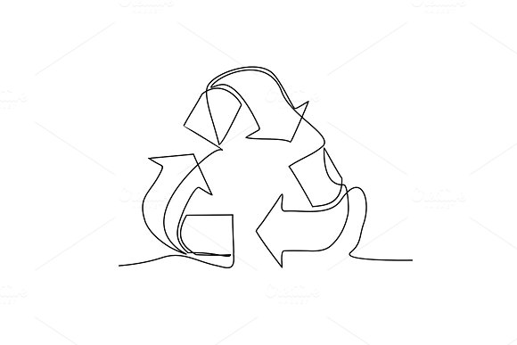 Recycle Sign One Line Drawing