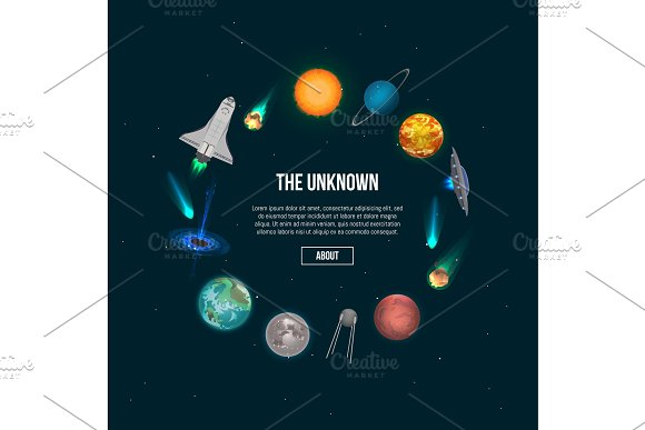 The Unknown Universe Banner With Cosmic Elements