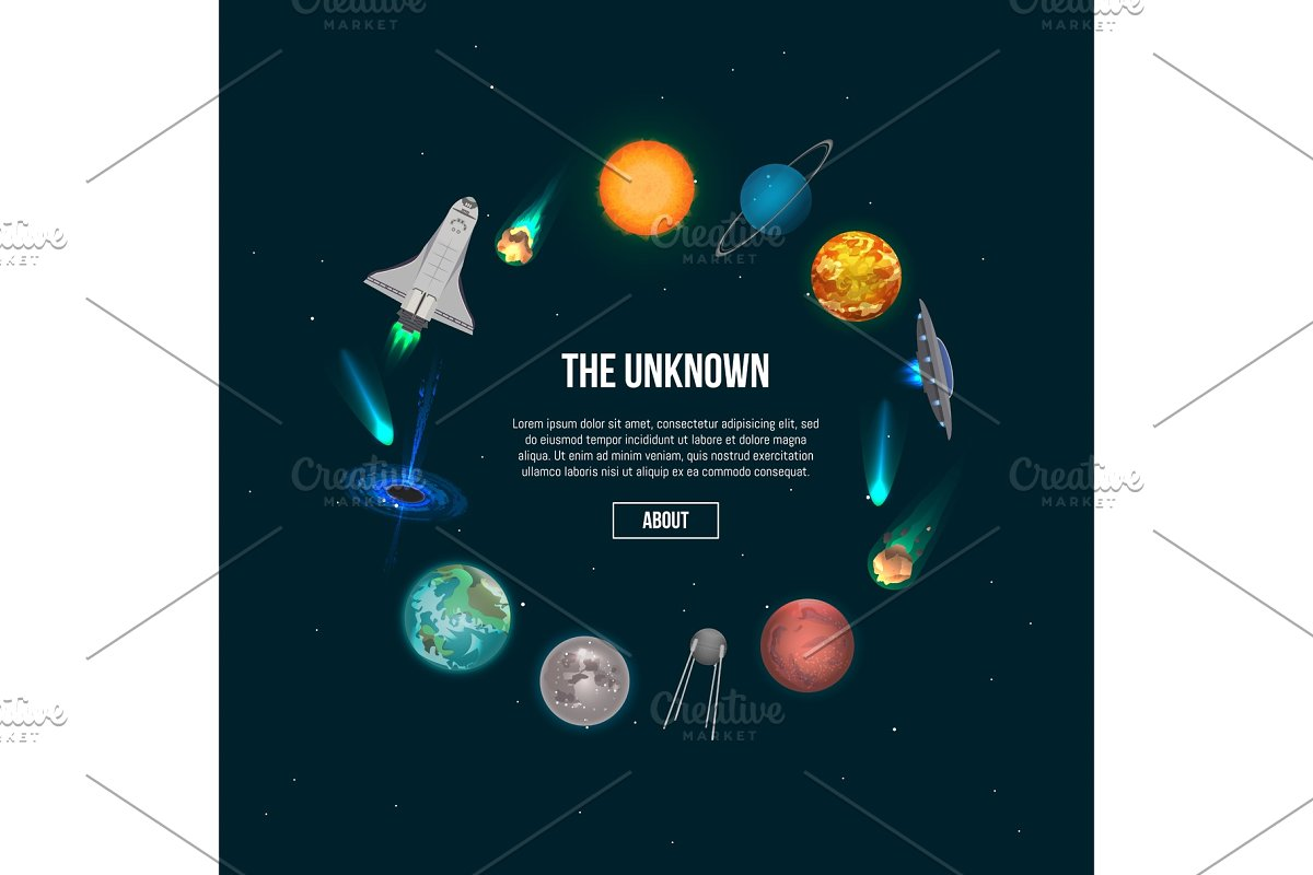 The unknown universe banner with cosmic elements in Illustrations - product preview 8
