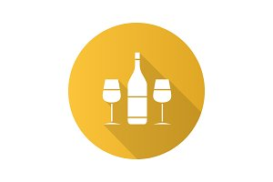 Wine and two glasses flat design long shadow glyph icon