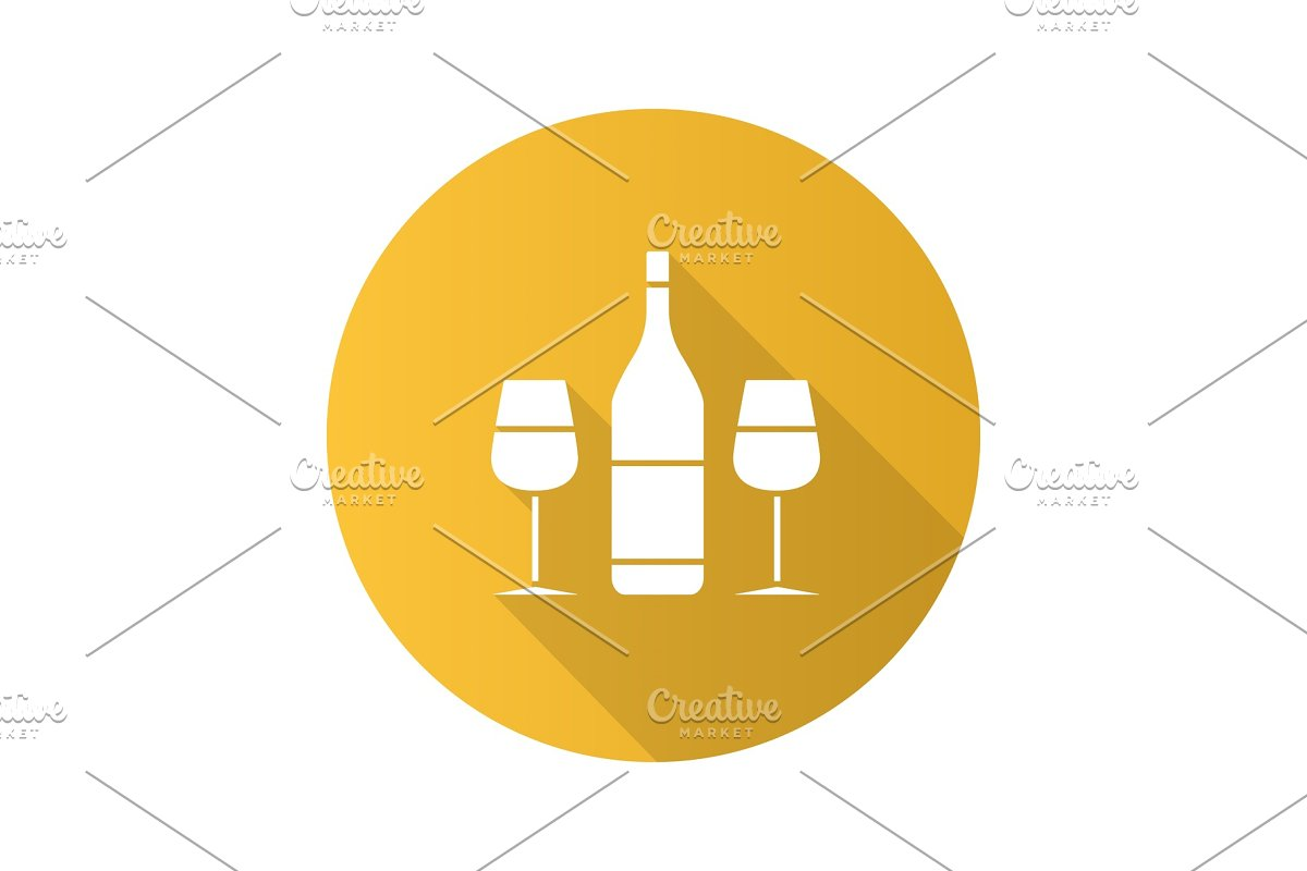 Wine and two glasses flat design long shadow glyph icon in Graphics - product preview 8
