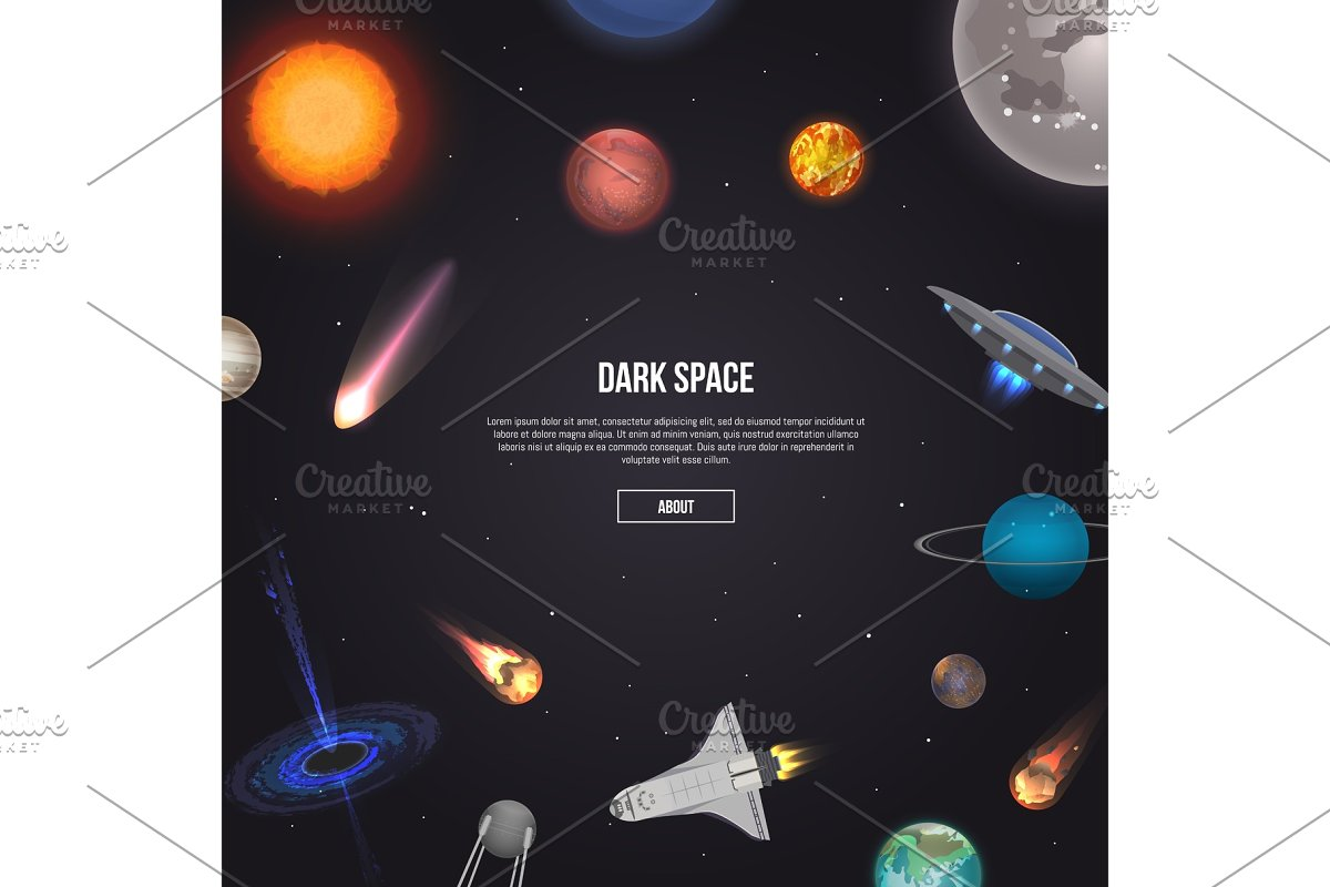 Dark space banner with cosmic elements in Illustrations - product preview 8