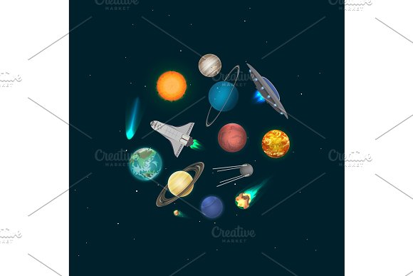Universe Discovery Banner With Cosmic Elements