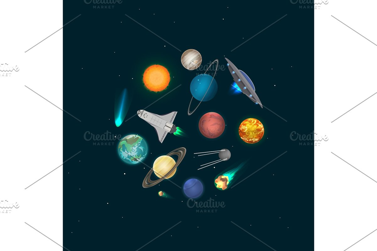 Universe discovery banner with cosmic elements in Illustrations - product preview 8