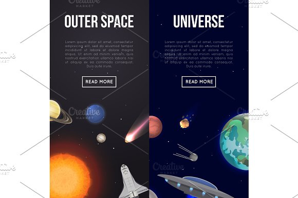 Outer Space Flyers With Cosmic Elements