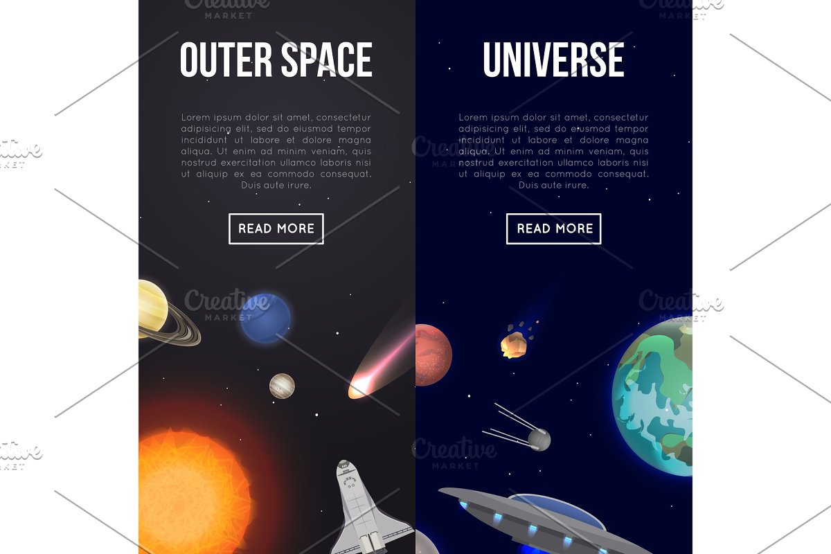 Outer space flyers with cosmic elements in Illustrations - product preview 8