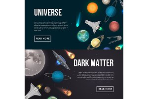 Universe exploration flyers with cosmic elements