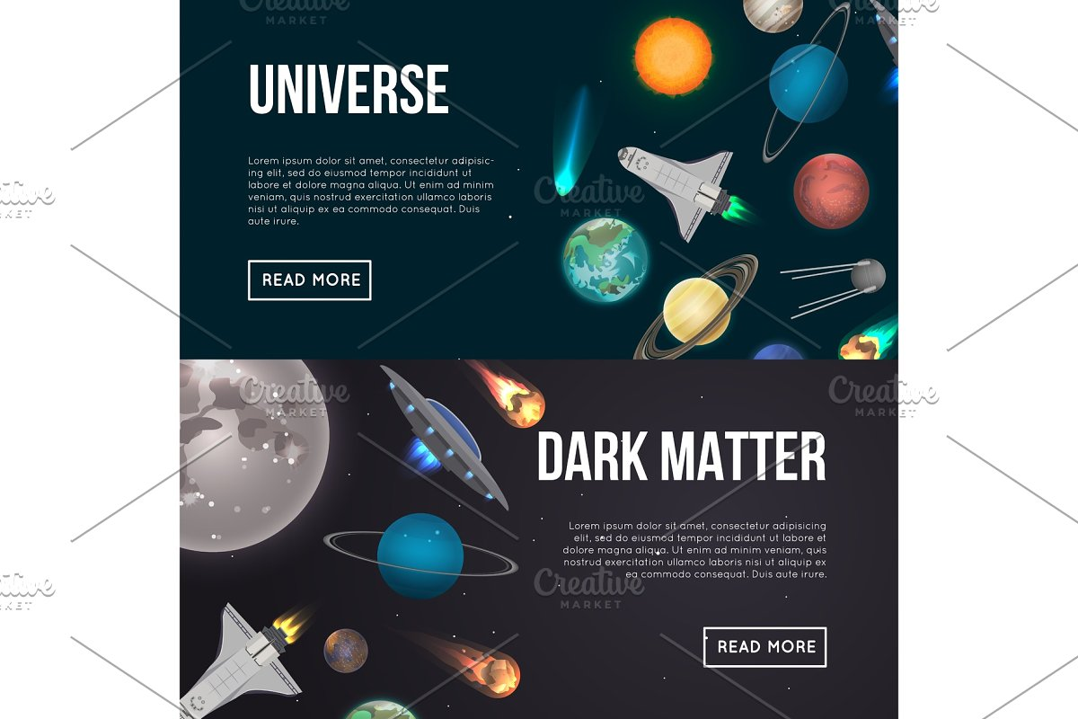Universe exploration flyers with cosmic elements in Illustrations - product preview 8