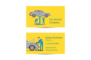 Business card template for auto service