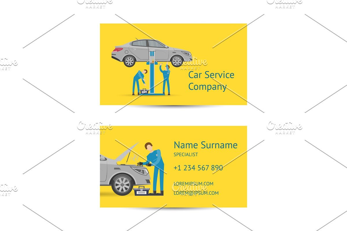 Business card template for auto service in Illustrations - product preview 8