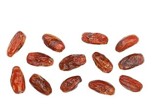 dry dates isolated on white background with copy space for your text. Top view. Flat lay pattern