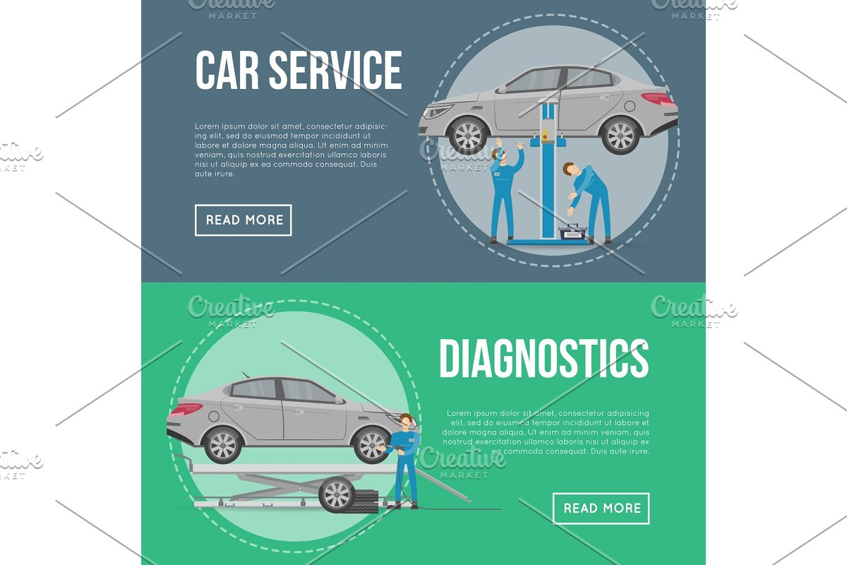 Car diagnostics and repair services flyers in Illustrations - product preview 8