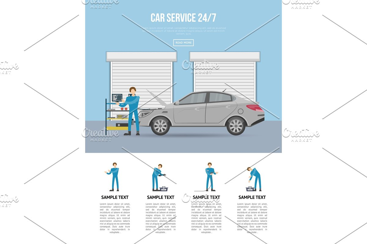 Car diagnostics and repair services 24h poster in Illustrations - product preview 8