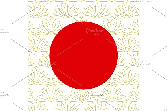 Abstract Japanese Background With Red Circle