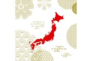 Traditional japan background with country map
