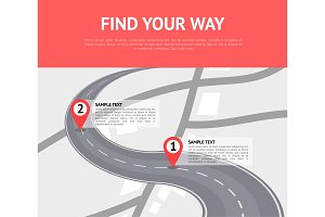 Find your way concept with pin pointers