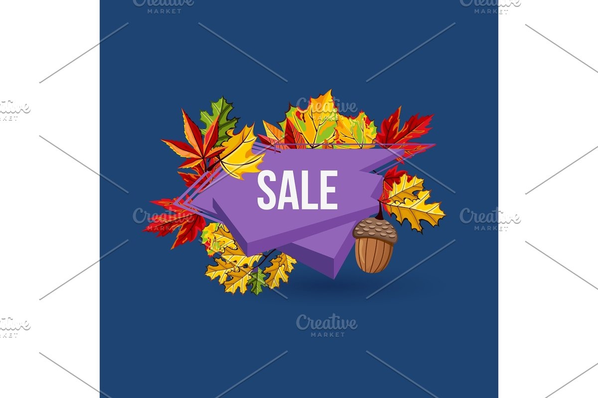 Autumn sale geometric label with leaves in Illustrations - product preview 8