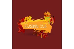 Seasonal sale geometric label with autumn leaves