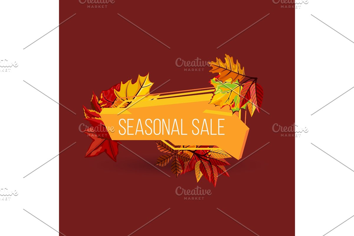 Seasonal sale geometric label with autumn leaves in Illustrations - product preview 8