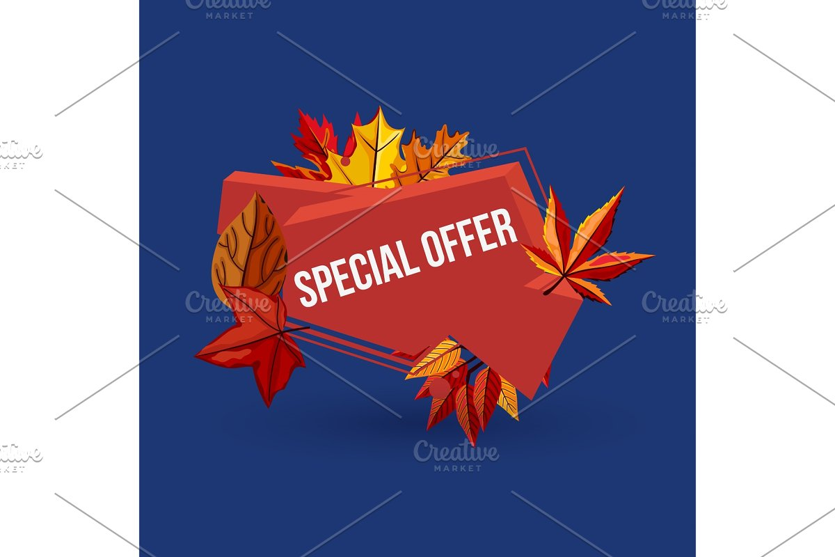 Special offer geometric label with autumn leaves in Illustrations - product preview 8
