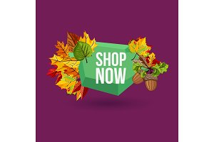 Shop now geometric label with autumn leaves