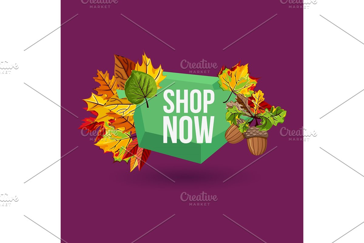 Shop now geometric label with autumn leaves in Illustrations - product preview 8