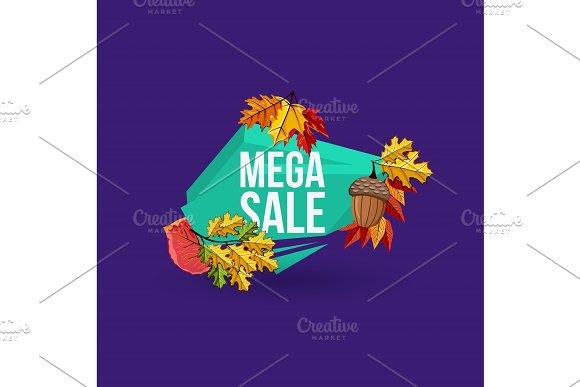 Mega Sale Geometric Label With Autumn Leaves