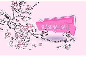 Seasonal sale geometric label with tree branch