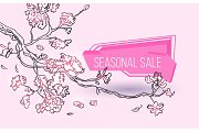 Seasonal sale geometric label with tree branch