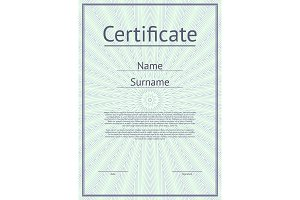 Certificate template with guilloche texture