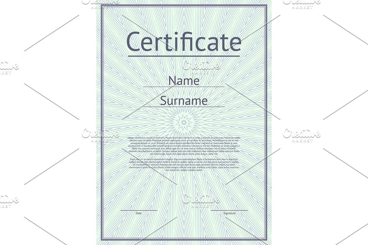 Certificate template with guilloche texture in Illustrations - product preview 8