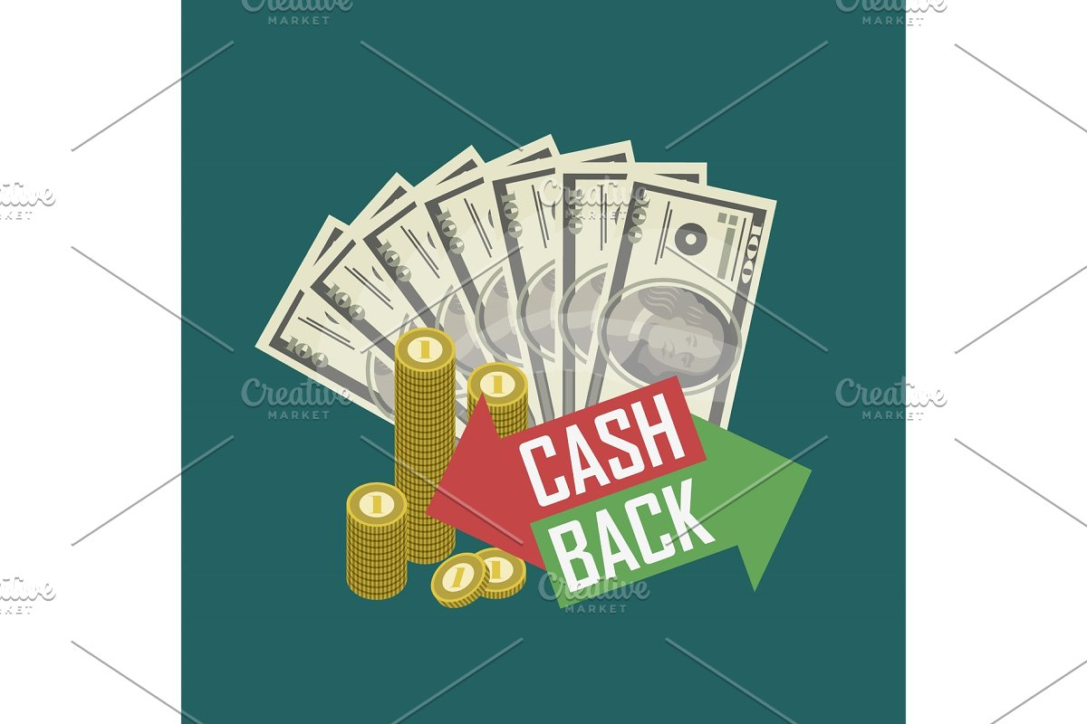 Cash back concept with money in Illustrations - product preview 8