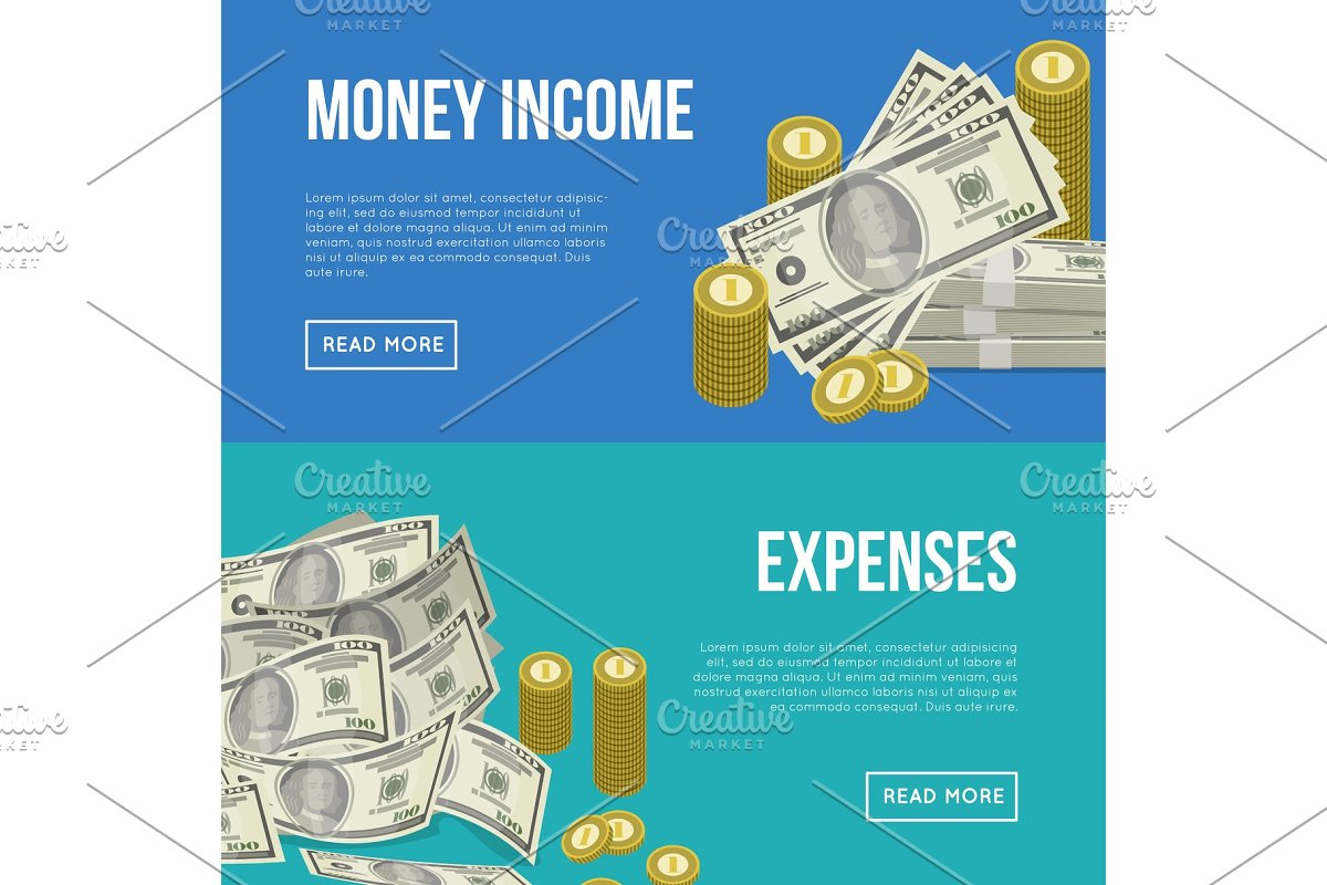 Money income flyers with paper banknotes in Illustrations - product preview 8