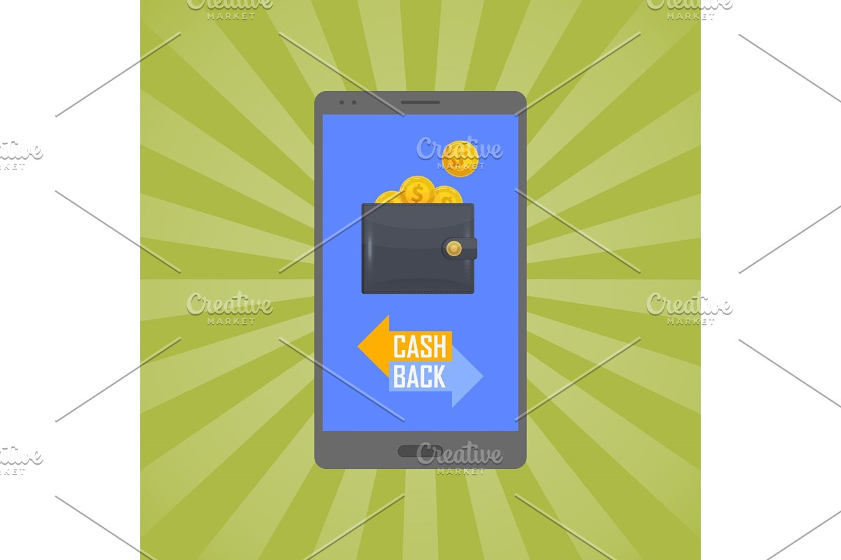 Cash back concept with man leather wallet in Illustrations - product preview 8