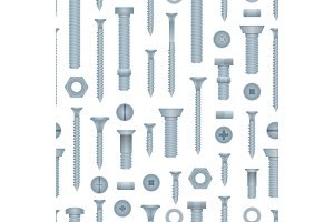 Seamless pattern with steel bolts and screws