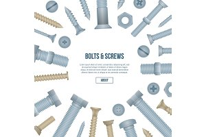 Construction shop banner with realistic bolts