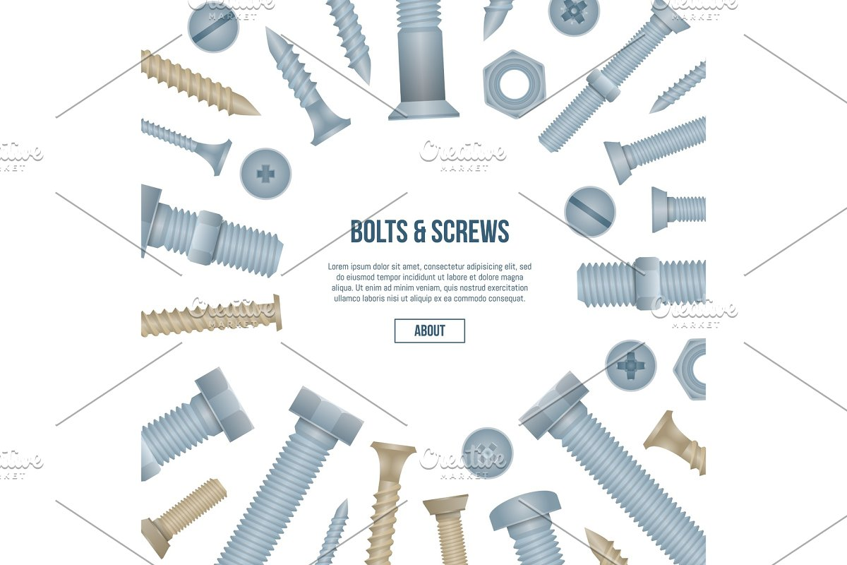 Construction shop banner with realistic bolts in Illustrations - product preview 8