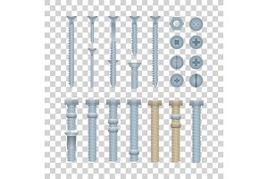 Steel bolts with nuts and screws set