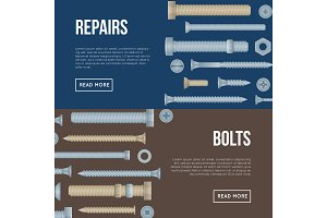 Construction shop flyers with realistic bolts