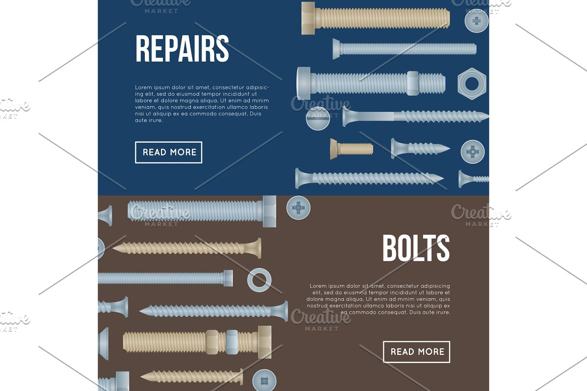 Construction shop flyers with realistic bolts in Illustrations - product preview 8