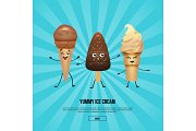 Chocolate and vanilla ice cream characters