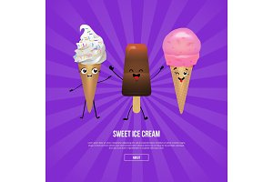 Chocolate and strawberry ice cream characters