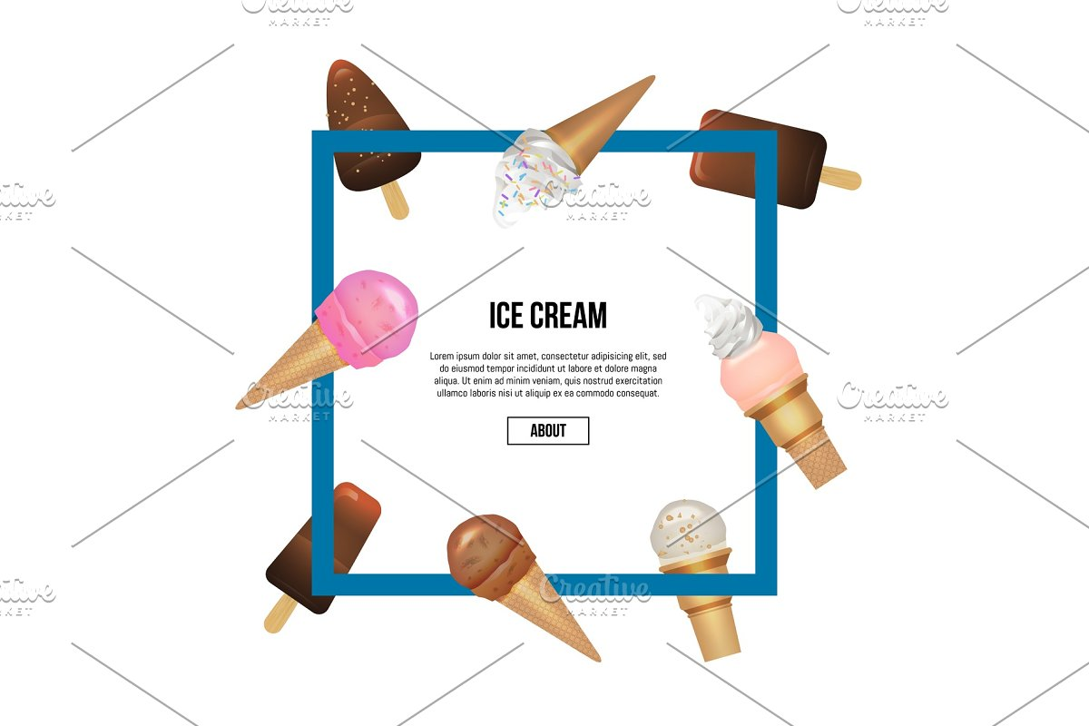Yummy ice cream in waffles cone square composition in Illustrations - product preview 8