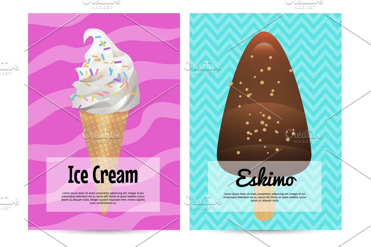 Yummy ice cream in waffles cone advertising flyers in Illustrations - product preview 8