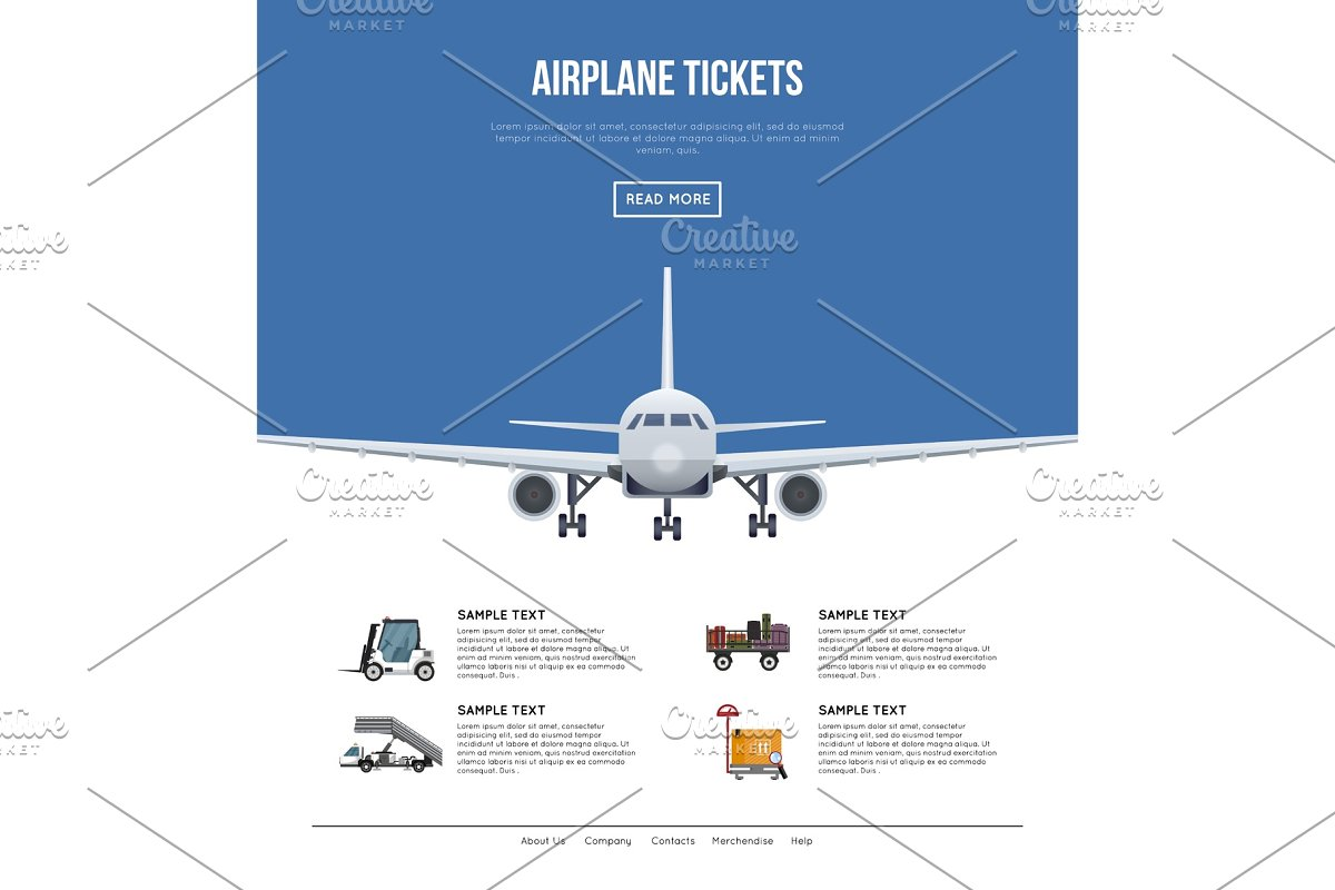 Commercial airlines poster with jet airplane in Illustrations - product preview 8