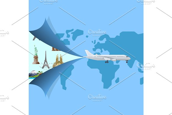 Worldwide Air Traveling Poster With Jet Airplane