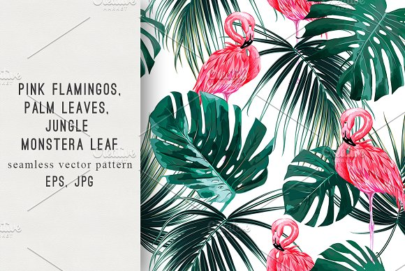 Tropical Leaves Flamingos Pattern