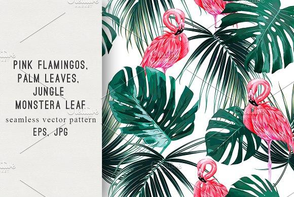 Tropical Leaves Flamingos Pattern
