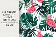 Tropical leaves,flamingos pattern